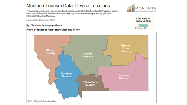 Montana Device Locations dashboard